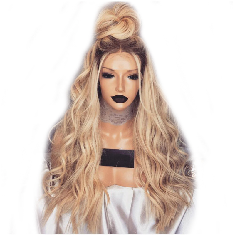 DLME 180 Density Glueless Wavy Wig 20Inch Synthetic Ombre Blonde Lace Front Wigs For Women Heat Resistant high temperature