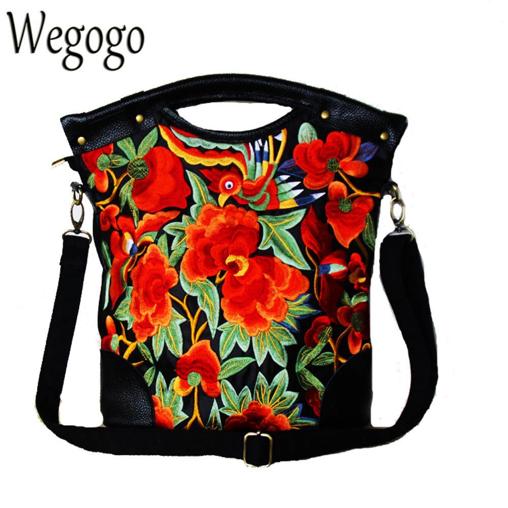 Original Women Handbag New National Casual Floral Embroidery Totes Ladies Black Genuine Leather Messenger Bag Bolsas