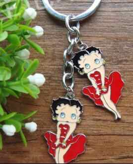 Free shipping New 1pcs cartoon red betty boop Charms Pendants Key Chain Keychains party toy kids gifts