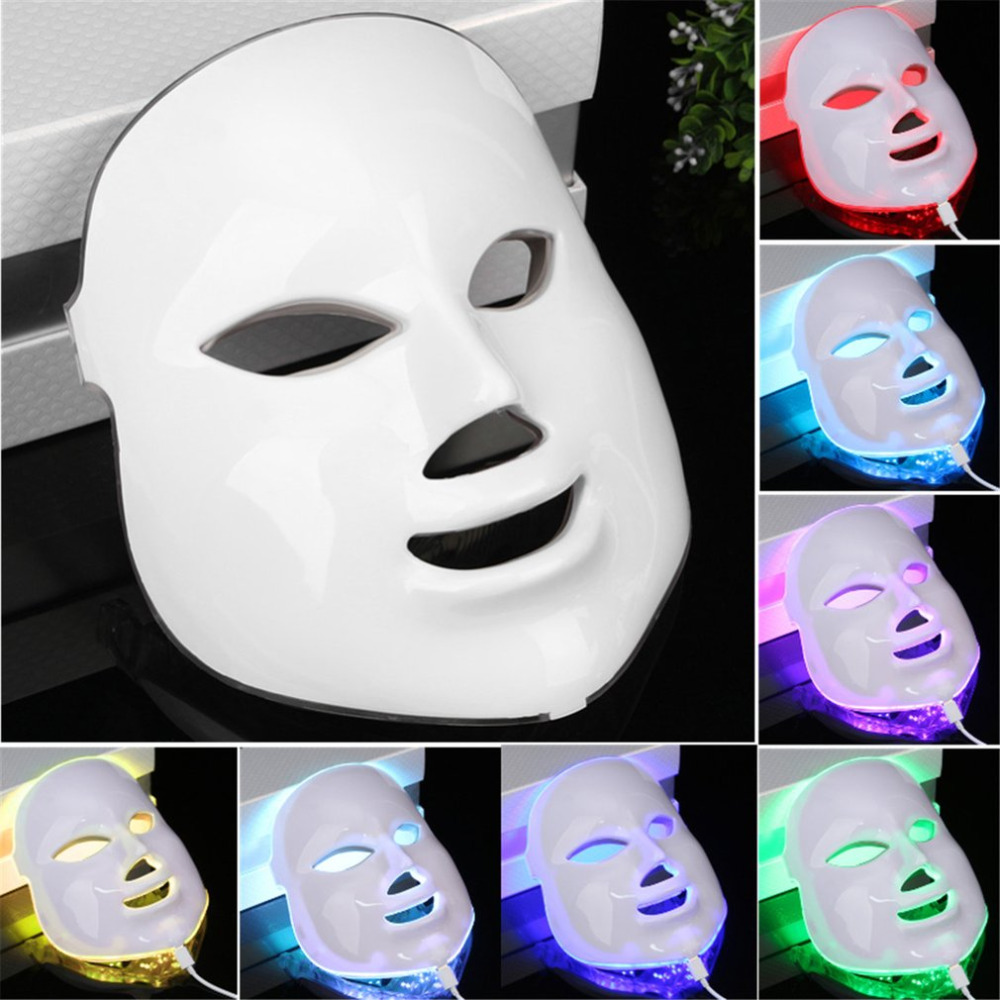 7 Color Light Photon LED Facial Mask Electric Face massage Rejuvenation Therapy Anti-aging Anti Acne Whitening Skin Tighten 3d vibration massage facial mask pink color electric facial mask skin rejuvenation therapy anti aging acne clearance device