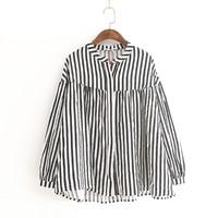 Korean fashion 2018 female doll Cardigan big loose long sleeve blusas Stripe linen Shirt autumn blouse cotton linen clothes