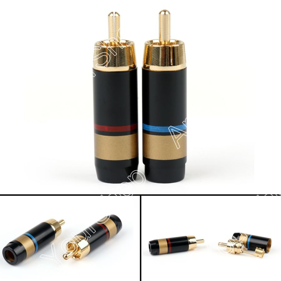 Areyourshop Sale 20PCS Copper RCA Plug Audio Cable Male Connector Adapter Connector Soldering Phono Male for 6.6mm Cable 10pcs lot rca connector gold plated wire connector 6mm cable rca male plug professional speaker audio adapter 5 pairs red black