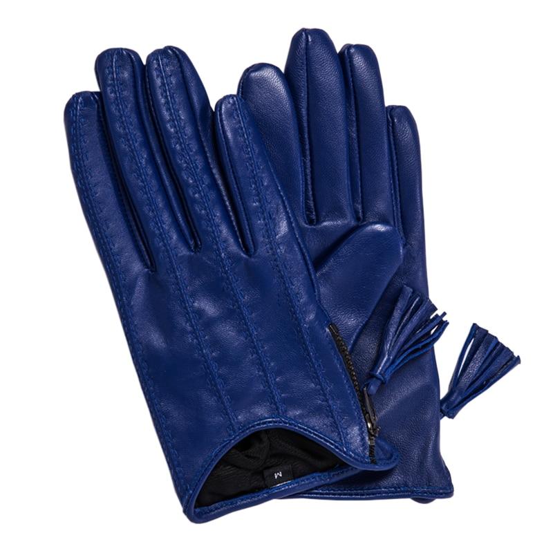 Genuine Leather Gloves Female Tassel Zipper Short Style Autumn Winter Thin Velvet Lined Woman Sheepskin Gloves Driving TB80-1