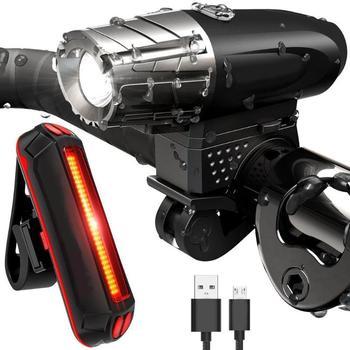 Waterdichte MTB Bike Front Stuur + Achterlichten Lamp USB Opladen Fietslicht 4 modes Koplamp Fietsen Licht Sets