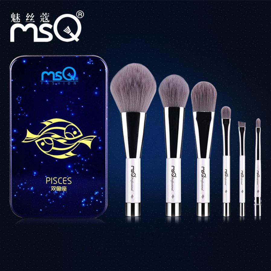 Hot! Twelve Constellation Series Makeup Brush Set Bamboo charcoal Brush Metal Box Magnet for MSQ Brand Levert Dropship FEB28