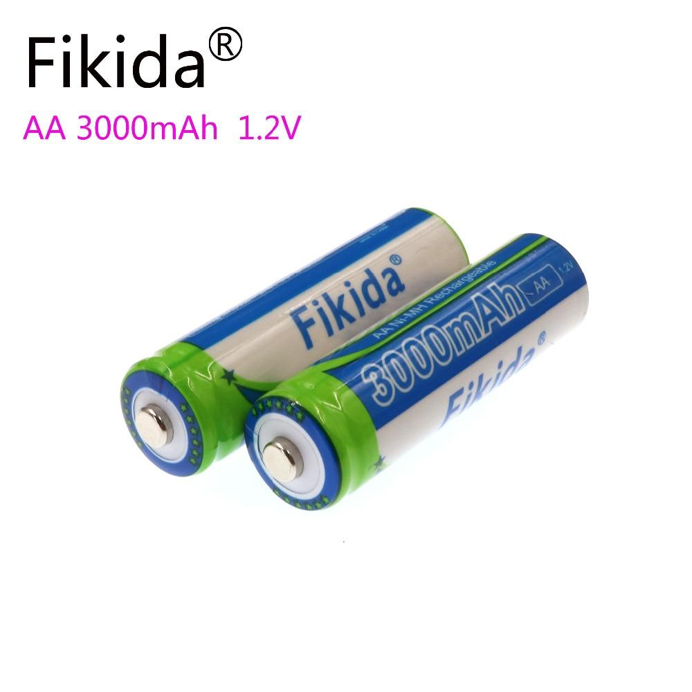 New Fikida 1.2V High Capacity NiMH AA 3000mAh Rechargeable Battery 2A Remote Flashlight Alarm Clock Camera Toy Battery