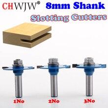 """1pc 8mm Shank wysokiej jakości """"T"""" typ herbatniki wspólne gniazdo frez łączenie/frez szczelinowy 3mm, 4mm wysokość frez do drewna"""