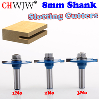 3pc 8mm Shank High Quality T Type Biscuit Joint Slot Cutter Jointing Slotting Router Bit 2mm