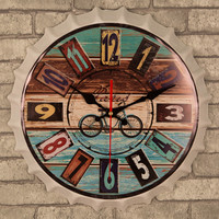 Nostalgic Vintage Tinplate Beer Cover Wall Clock 14 Inches Mute Table Metal Painting Wall Hangings Iron Art Bar Cafe Home Decor