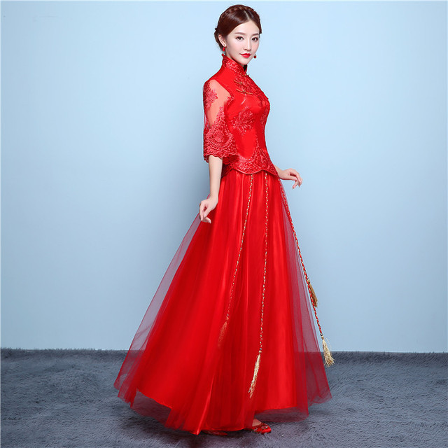 9dcb0c166e6 2018 Lace Cheongsam Long Qipao Red Chinese Traditional Wedding Dress Bride  Traditions Evening Dresses China Clothing
