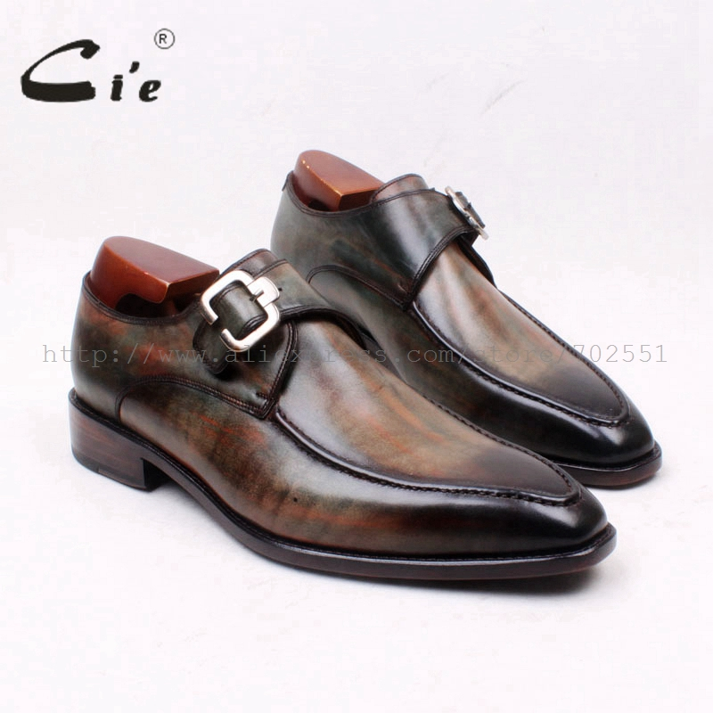 Cie平方つま先手描き手作りシングルモンク純粋な本物のカーフレザー底アウトソール通気性メンズフラットShoeMS127  グループ上の 靴 からの 正式な靴 の中 1