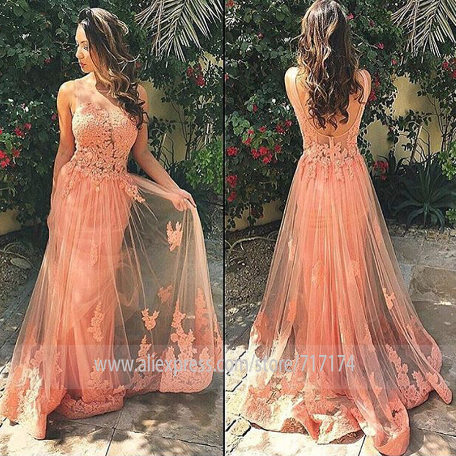 Tulle Scoop Neckline Sleeveless Lace Applique   Prom     Dress   with Backless Sweep Train A-line Party Evening   Dress   Graduation Party