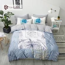 Liv-Esthete Leaves Plant 100% Cotton Bedding Set Decor Duvet Cover Pillowcase Flat Sheet Home Textiles Double Queen King Bed