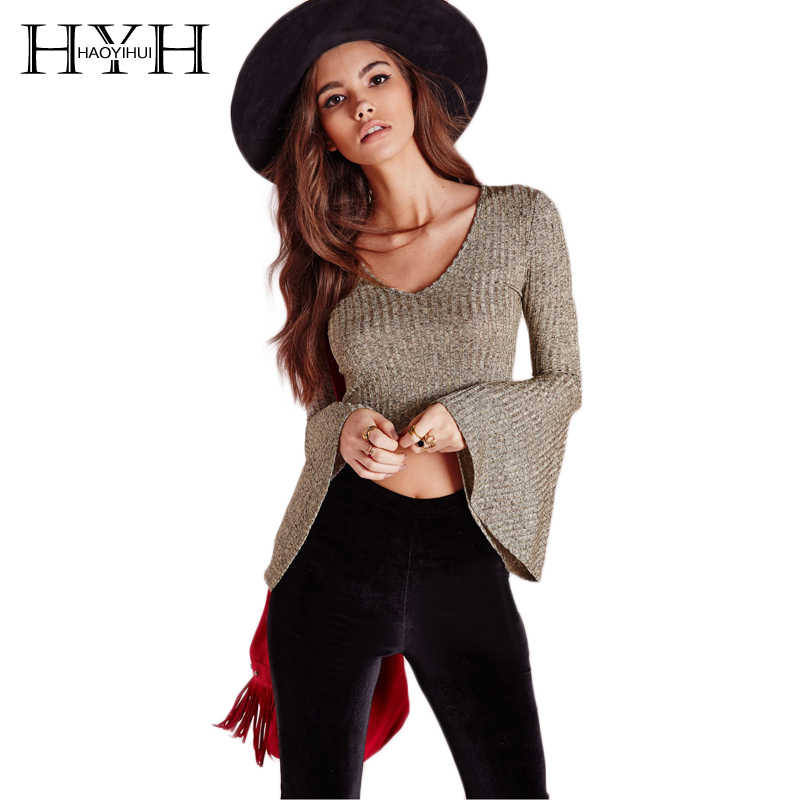 HYH Haoyihui Women Solid Khaki/Black V-Neck Flared Sleeve Knitted Sweater Punk Rock Slim Casual sexy Street Long Sleeve Crop Top