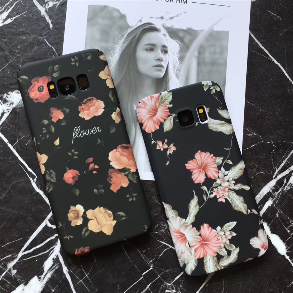 Retro Red Rose Flower Floral Cases For Samsung Galaxy S7 S8 S8Plus Note8 Black Flower Plants Leaves For iphone 6 7 8 Matte Case