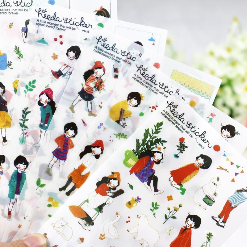 6 Sheets/lot Cute Girl Korea Decorative Sticker Diary Scrapbooking Notebook Kawaii Stationary School Supplies