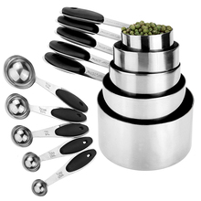 Stainless Steel Measuring Cups & Spoons Set- 5 + Spoons-Non-slip silicone Grip-for Dry Wet Ingredients-Baking Tools