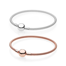 Silver And Rose Gold Mesh Bracelet 100% 925 Sterling Silver Mesh Bracelet Fit European Charms Diy Jewelry 2018