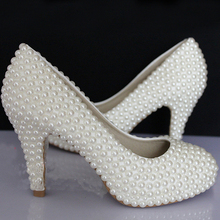 Glamorous Fashion Ladies Imitation Pearl Bridal Shoes High-Heel Wedding Shoes Custom Made Woman Banquet Shoes Bridesmaid Shoes