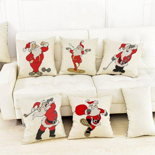 Decoratieve Cartoon Sport Kerstman Kerstversiering Kussenhoes Voor ...