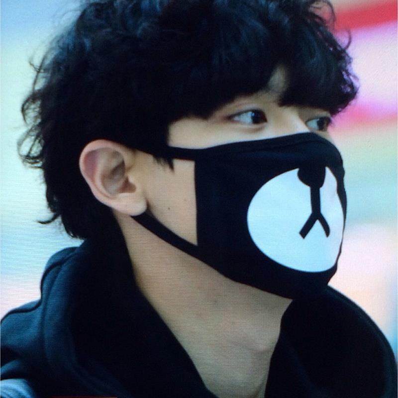 2017 Cotton Mouth Face Mask Unisex Korean Kpop EXO Chanyeol Same Style Chan yeol Lucky Bear Black Mouth Mask Face Respirator kpop winter exo hat unisex exo planet printing skullies