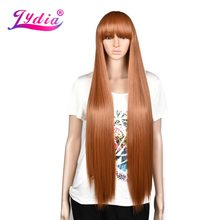 "Lydia Long Straight Hair 28"" Natural Wig neat Bangs Cosplay Wig High Temperature Synthetic Futural Fiber Women Ladies Party Wigs(China)"
