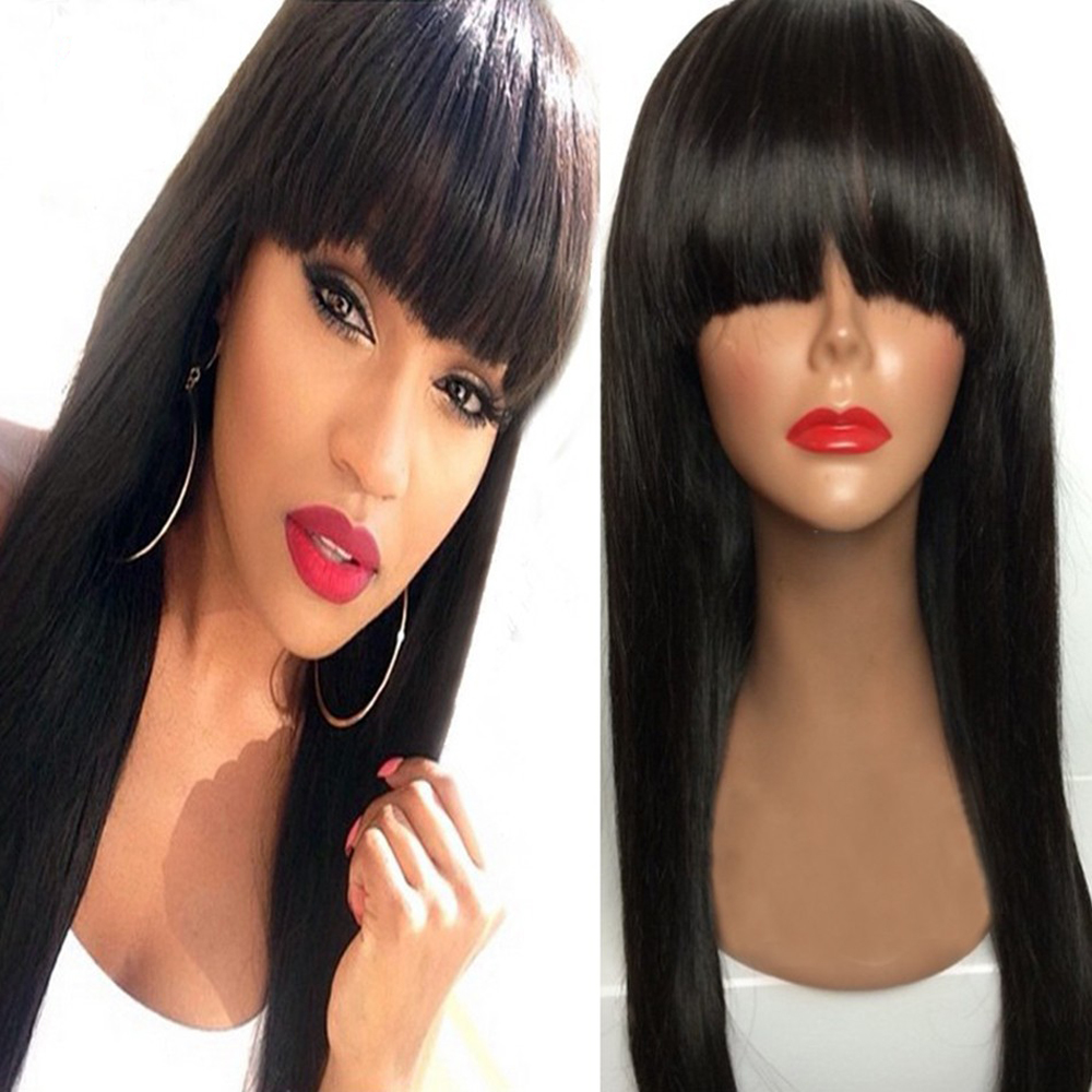 SimBeauty Peruvian Hair Full Fringe Wig Human Hair Glueless Front Lace Wig With Bangs Bleached Knots Lace Wigs For Black Women