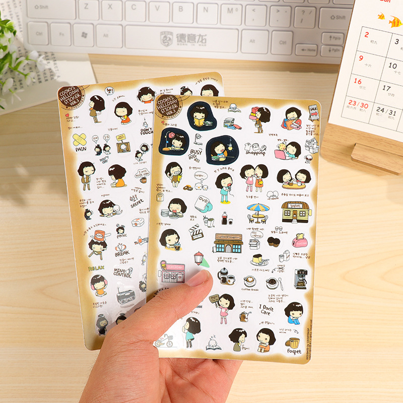 6Pcs/Pack Cute Korean Girl DIARY DECO PACK Kawaii Sticker Planner Stickers Note Sticker Escolar Papelaria Stationery E0458