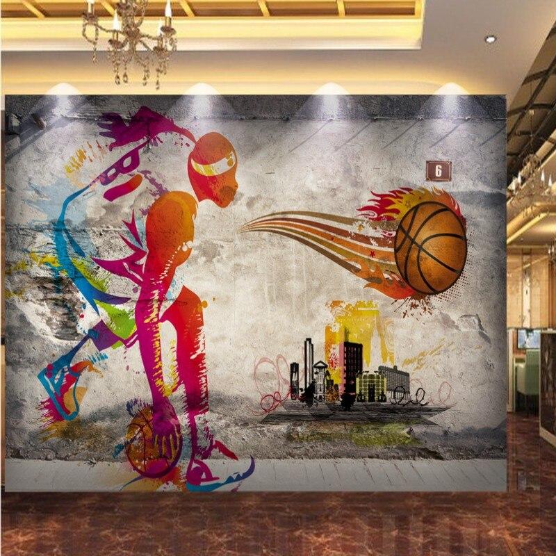 Custom 3D photo wallpaper Nostalgic street graffiti mural shopping mall restaurant mural basketball star background wallpaper photo wallpaper retro nostalgic japanese seafood restaurant wallpaper restaurant sushi house mural background wallpaper
