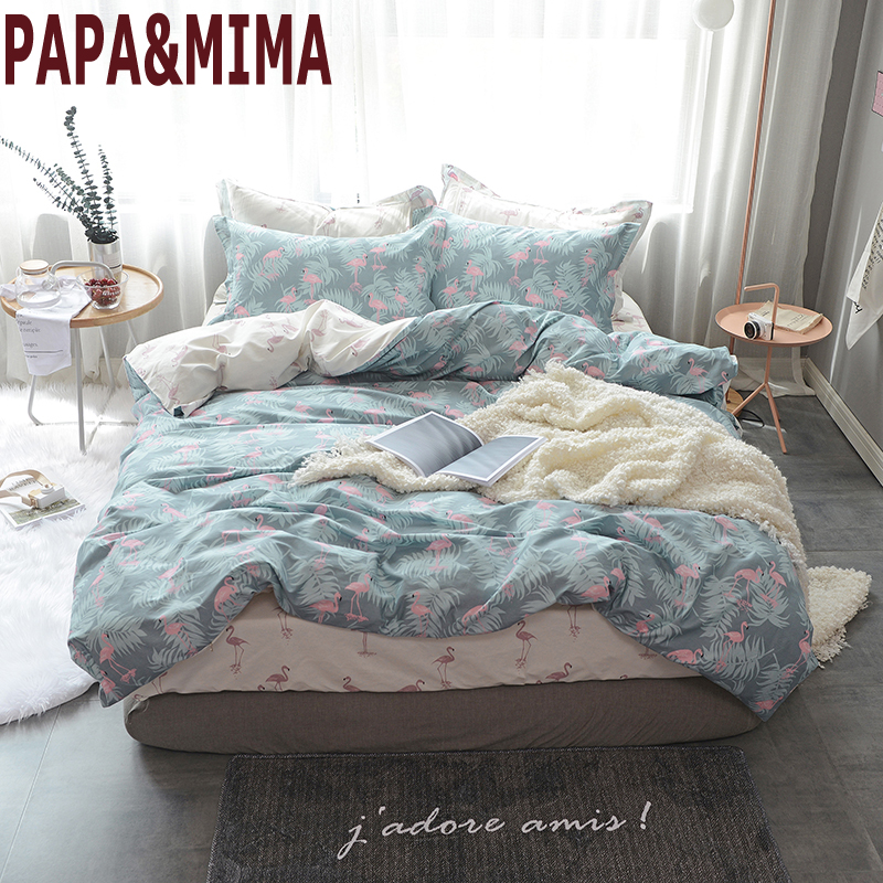 Papa&Mima Flamingo And leaves print duvet cover sets Princess style 100% cotton Queen Twin size flat sheet pillowcases