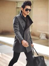 Black grey autumn winter coat men single breasted slim stand collar fashion casual wool jacket men's clothing outerwear 3XL