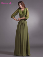 Green 2018 Mother Of The Bride Dresses A Line V Neck 3 4 Sleeves Chiffon Lace