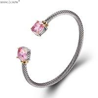 2017 Romantic Fashion Jewelry Pink Kunzite 925 Sterling Silver Bangle For Women Beautiful Birthday Gift B0057