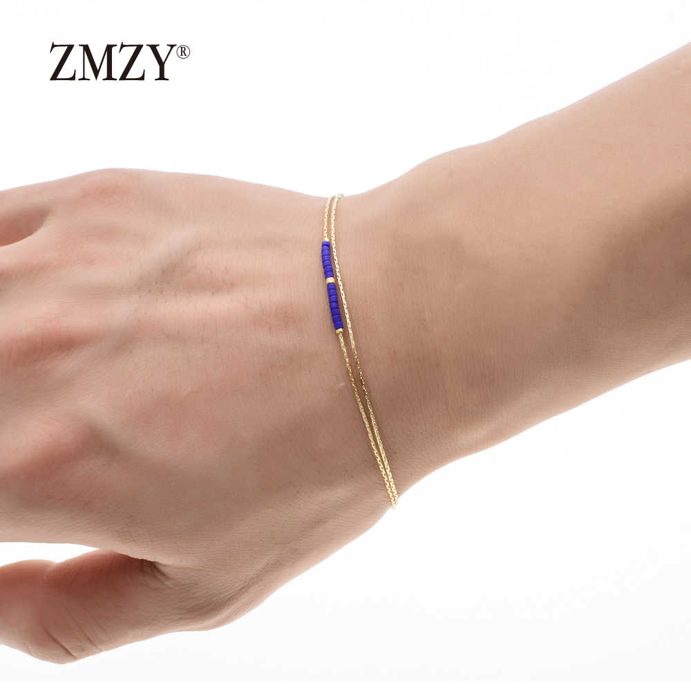 ZMZY Charm Crystal Gold Color Bracelet Femme Bead Bracelet Women Accessories Hand jewelry Boho Bohemian Bracelets for Women
