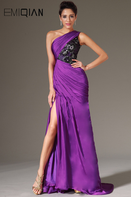 Free Shipping New Sexy One Shoulder High Slit Purple Chiffon Evening Gowns  Evening Dresses 6602484dc240