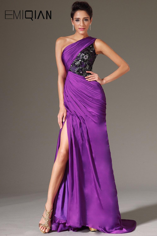 Livraison gratuite nouvelle Sexy une épaule haute fente violet mousseline de soie robes de soirée robes de soirée