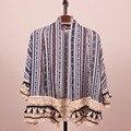 Verão 2016 Nova Moda Plus Size Mulheres Chiffon Blusas Patchwork Kimono Cardigan Praia Cover Up Tops Roupas Blusas Femininas