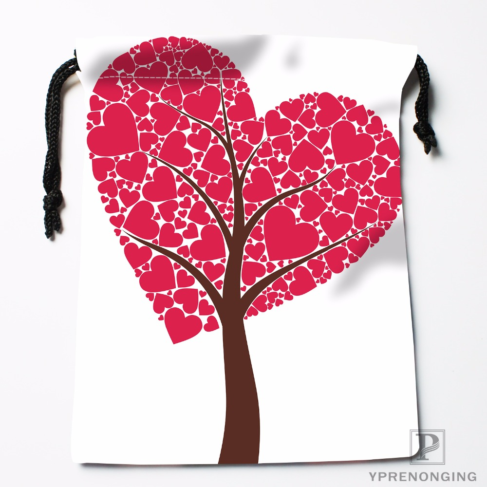 Custom Heart Tree Transparent Drawstring Bags Travel Storage Mini Pouch Swim Hiking Toy Bag Size 18x22cm#0412-04-223