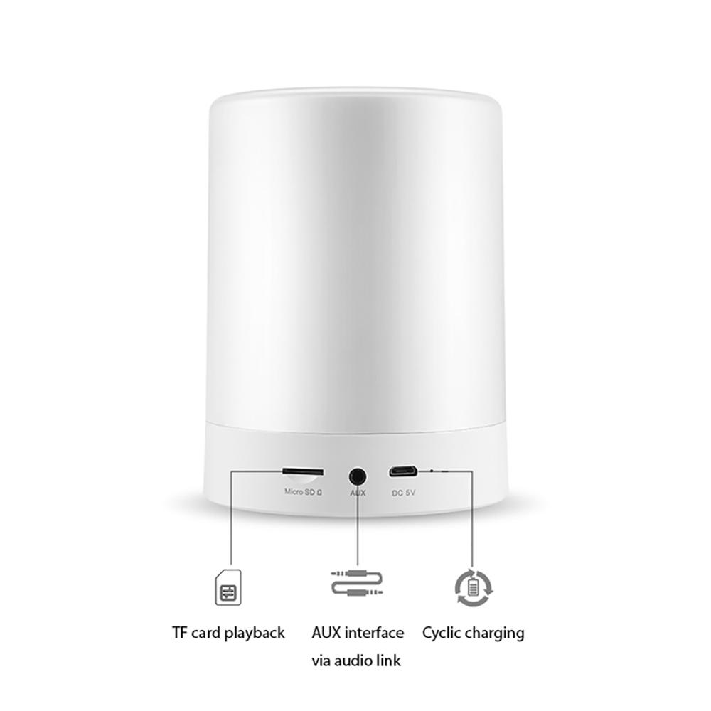 Светодиодный Будильник с беспроводным Bluetooth динамиком MP3 плеером поддержка TF AUX сенсорный датчик светодиодный прикроватный светильник с регулируемой яркостью Теплый светильник - Цвет: Белый