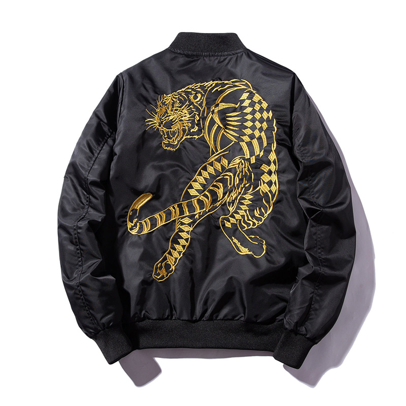 New Bomber Mns Jackets Embroidery Golden&white tiger 2019 Jacket Mens MA1 Pilot Bomber Jacket Male Embroidered Thin Coats image