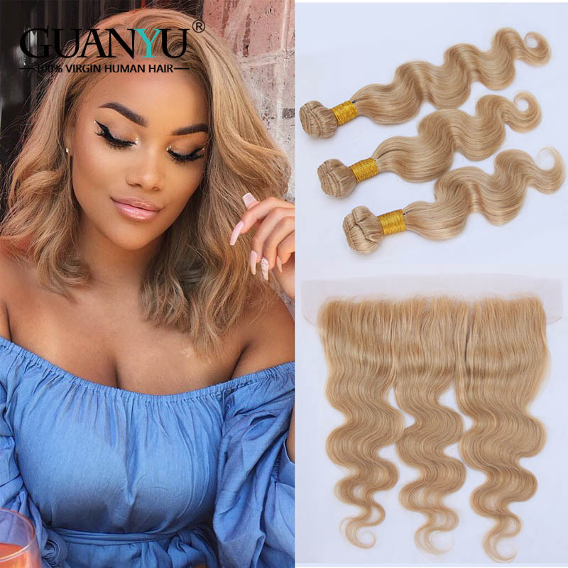 Hair Extensions & Wigs Guanyuhair #27 Honey Blonde Body Wave Malaysia Human Hair 3 Bundles With Frontal Closure 13x4 Ear To Ear
