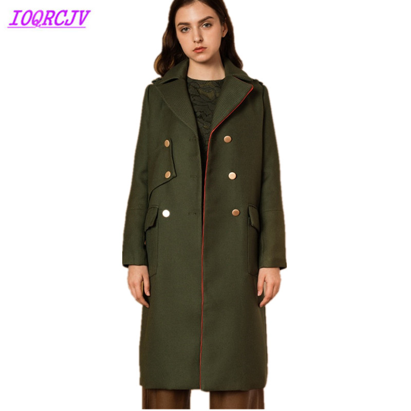 2018 European Women Autumn Winter Woolen Coats New Fashion ArmyGreen Woolen cloth Outerwear Thick Warm Woolen Coats IOQRCJV Q063