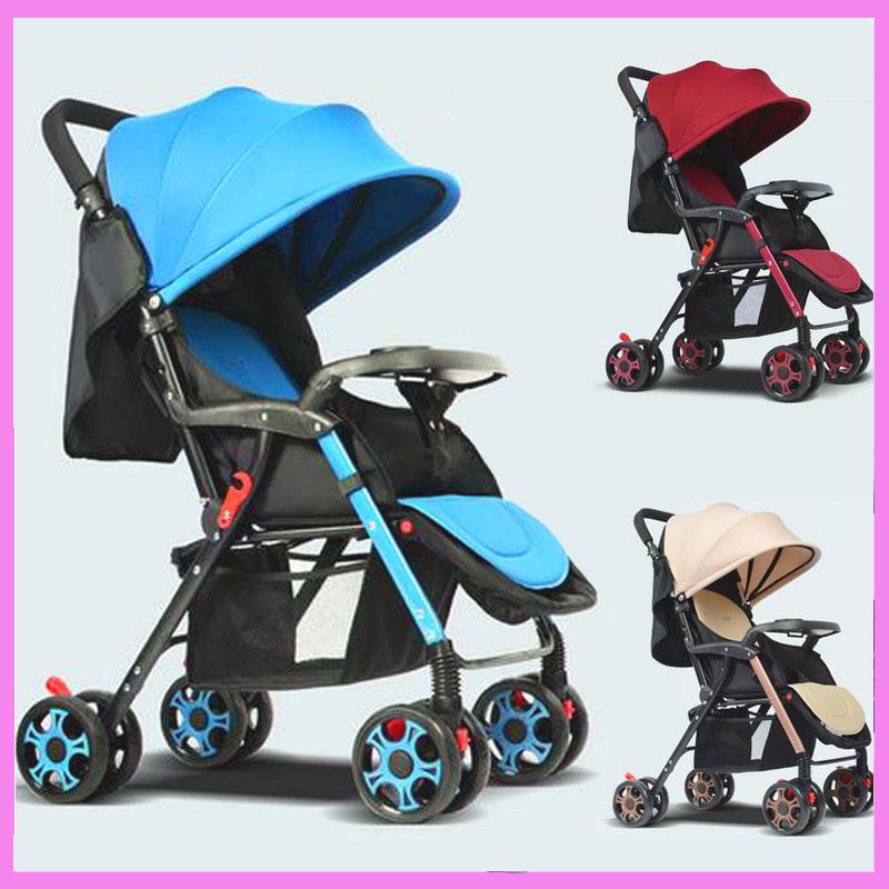 Portable Baby Stroller Can Lie Flat Folding Lightweight Baby Stroller Trolley Steel Pipe Umbrella Pushchair Travel Dinner Plate