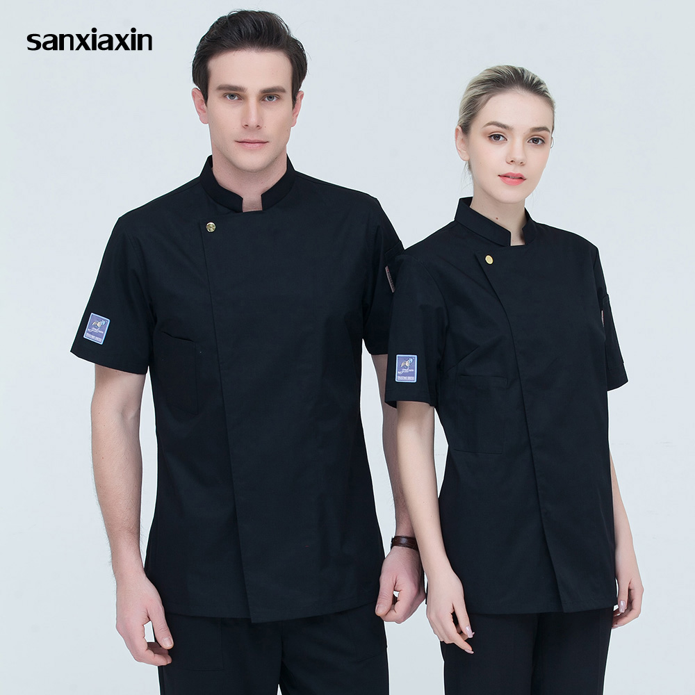 Sanxiaxin High Quality Breathable Short Sleeves Chef Jackets Food Service Uniforms Restaurant Catering Chef Clothes M-4XL7colors