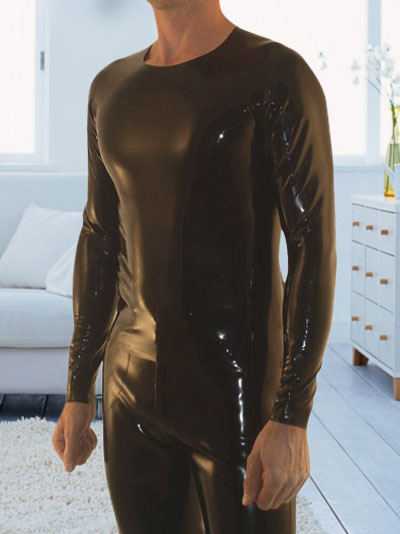 Latex/Rubber/Fetish/Catsuit/Costume/Masquerade/sexy/party/Black-Latex-Long-Sleeves-Crew-Shirt