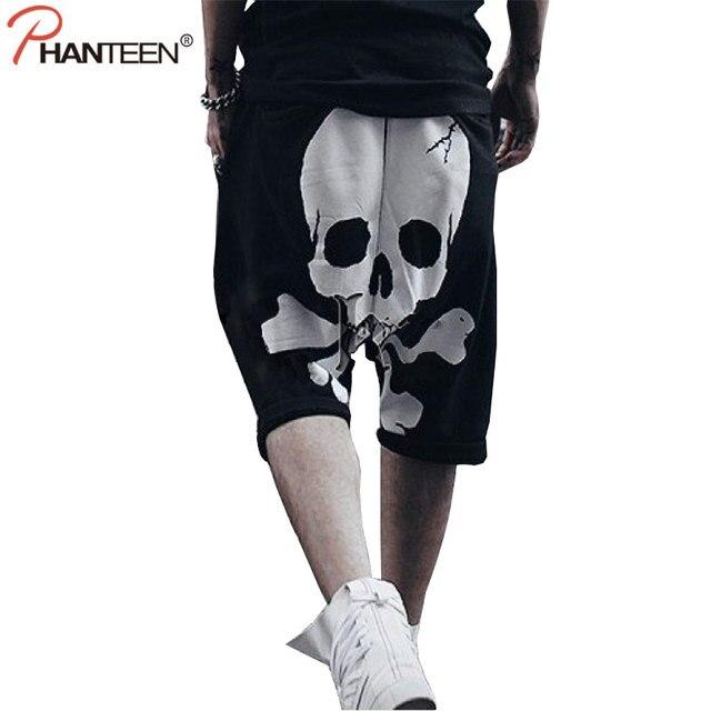 Phanteen Crâne Imprimer Halloween Homme Sarouel Hiphop Punk Street Style  Croix-pantalon Occasionnel Lâche pantalons cf3471fce1f
