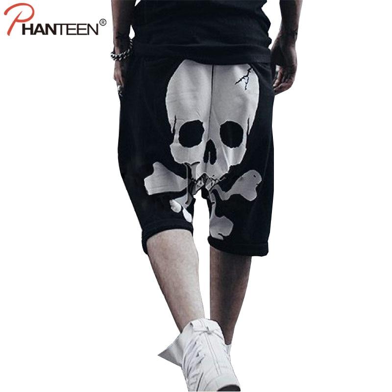 Phanteen koponya Nyomtatás Halloween férfi Harem nadrágok Hiphop Punk Street Style Cross-nadrág Alkalmi laza pulóverek Divat férfi nadrág