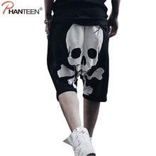 Phanteen Skull Print Summer Man Harem Pants Hiphop Punk Street Style Cross-pants Casual Loose Sweatpants Fashion Men Trousers