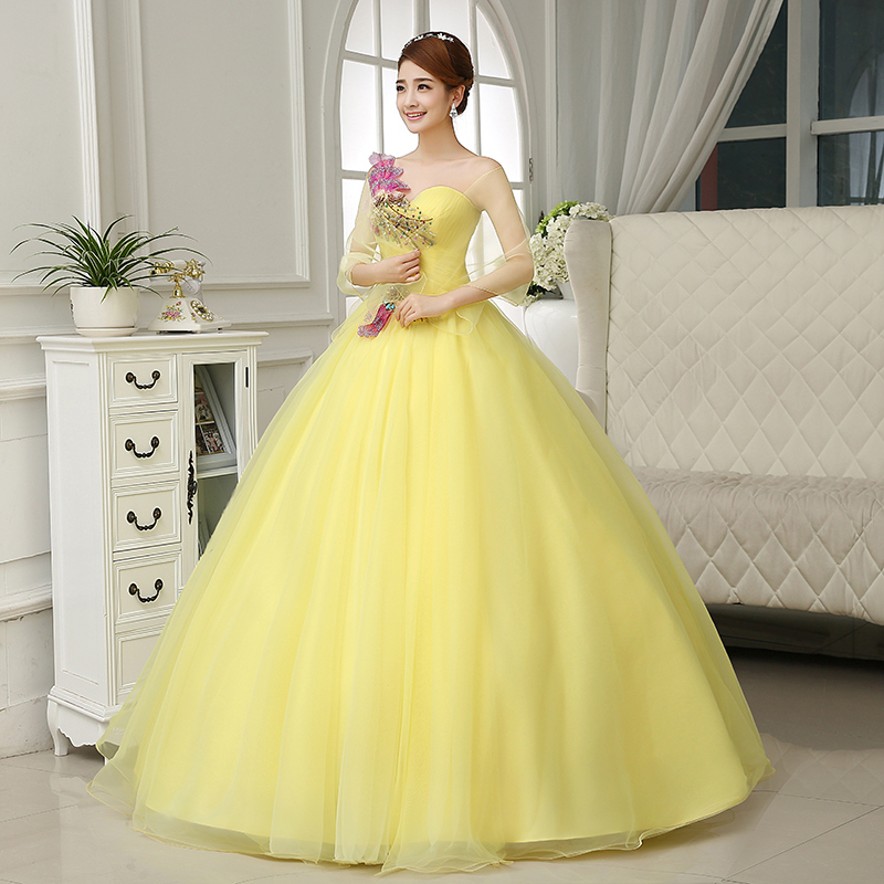 Yellow Ball Gown Medieval Dresses