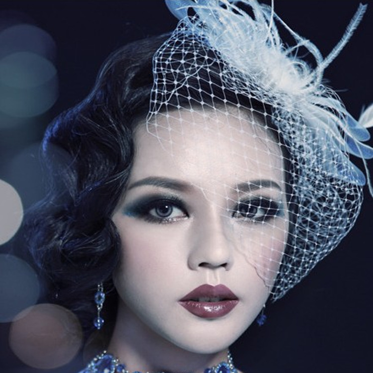2019 Elegant Women Bridal Hats And Fascinators White Black Net Wedding Veil Hair With Comb Bridal Party Gifts